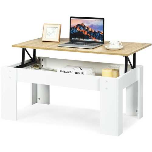 Lift Top Coffee Pop-UP Cocktail Table-White