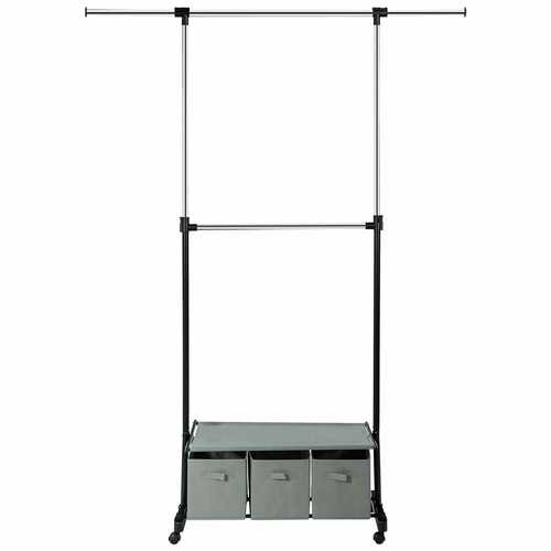 2-Rod Adjustable Garment Rack with Shelf and Storage Boxes