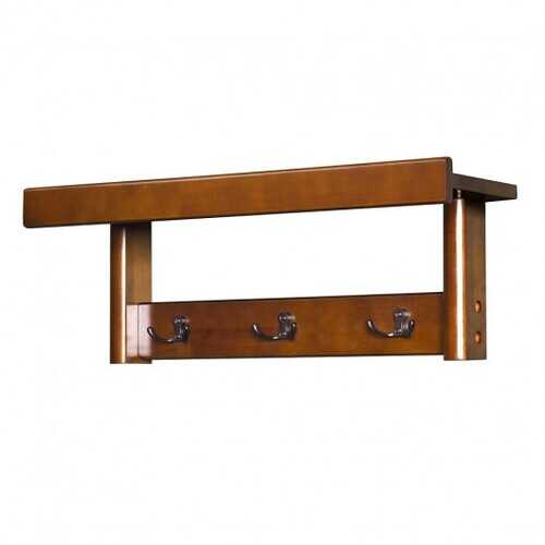 Entryway Hanging Wood Coat Rack with 3 Double Hooks-Brown