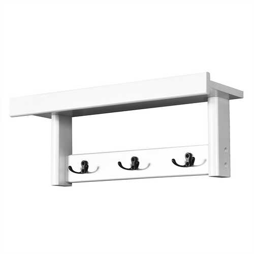 Entryway Hanging Wood Coat Rack with 3 Double Hooks-White