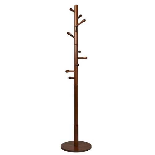 Wooden Coat Rack Stand Entryway Hall Tree 2 Adjustable Height w/ 10 Hooks-Brown