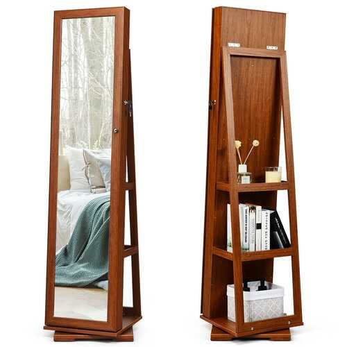 360?° Rotatable Armoire 2-in-1 Lockable Mirrored Jewelry Cabinet-Brown