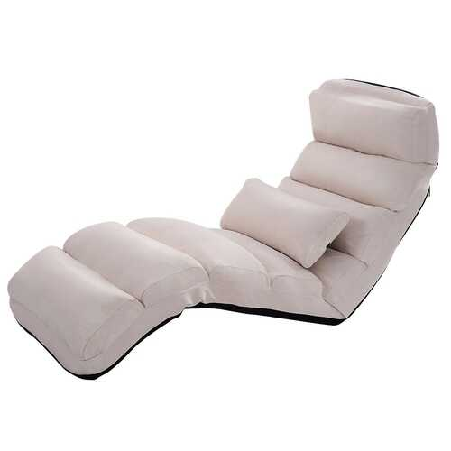 Stylish  Folding Lazy Sofa Chair with Pillow-Beige