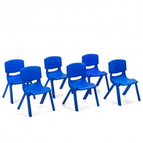 6-pack Kids Plastic Stackable Classroom Chairs-Blue
