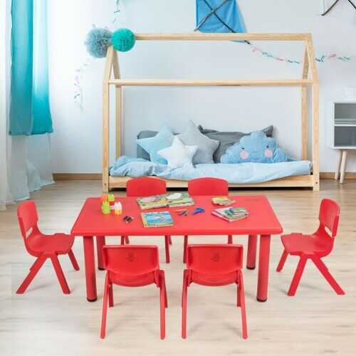 6-pack Kids Plastic Stackable Classroom Chairs-Red
