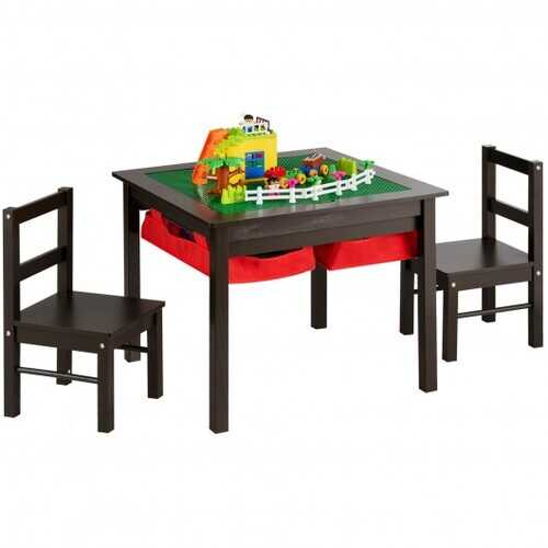 5-in-1 Kids Activity Table and 2 Chairs Set with Storage Building Block Table-Coffee
