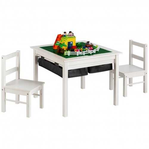5-in-1 Kids Activity Table and 2 Chairs Set with Storage Building Block Table-White