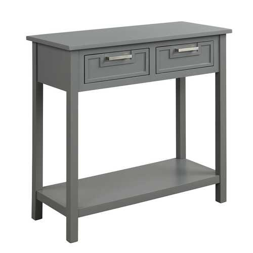 2 Drawers Accent Console Entryway Storage Shelf-Gray