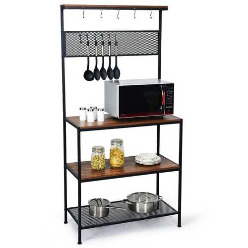 4-Tier Kitchen Rack Stand with Hooks & Mesh Panel