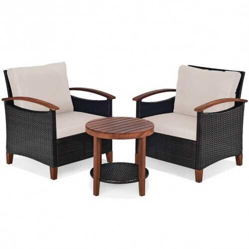 3 Pcs Solid Wood Frame Patio Rattan Furniture Set-Beige - Color: Beige