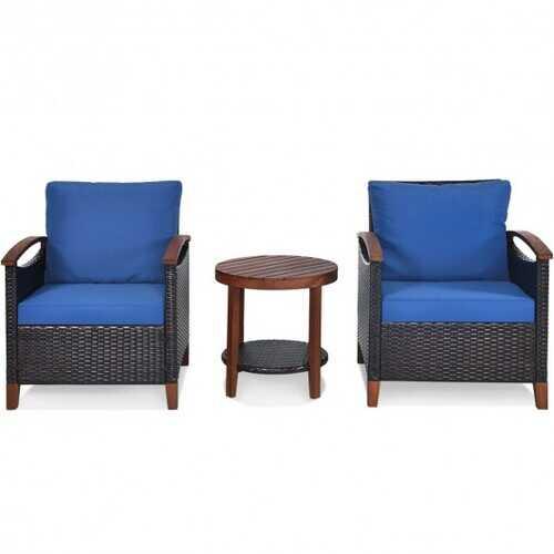 3 pcs Solid Wood Frame Patio Rattan Furniture Set - Color: Blue
