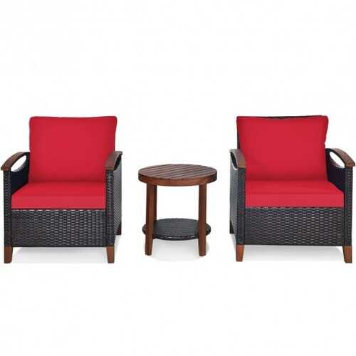 3 Pcs Solid Wood Frame Patio Rattan Furniture Set-Red - Color: Red