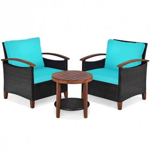 3 Pcs Solid Wood Frame Patio Rattan Furniture Set-Turquoise - Color: Turquoise