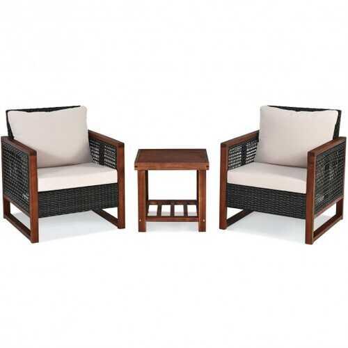3PCS Patio Wicker Furniture Set - Color: Beige