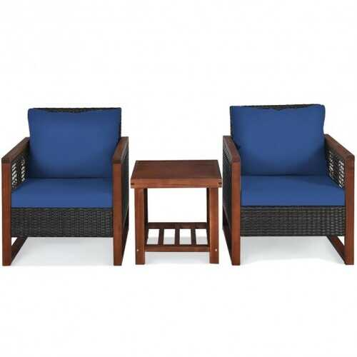 3 Pcs Patio Wicker Furniture Sofa Set with Wooden Frame and Cushion - Color: Navy
