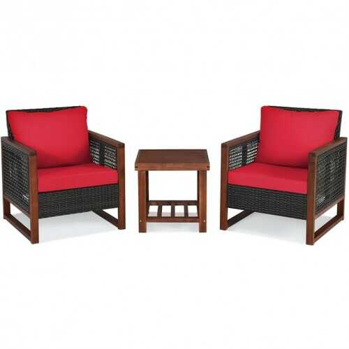 3 Pcs Patio Wicker Furniture Sofa Set with Wooden Frame and Cushion-Red - Color: Red