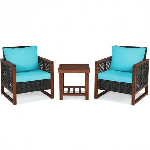 3 pcs Patio Wicker Furniture Sofa Set with Wooden Frame and Cushion-Turquoise - Color: Turquoise