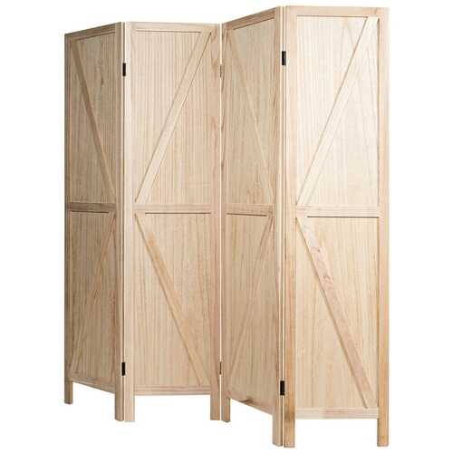 4 Panels Folding Wooden Room Divider-Natural - Color: Natural