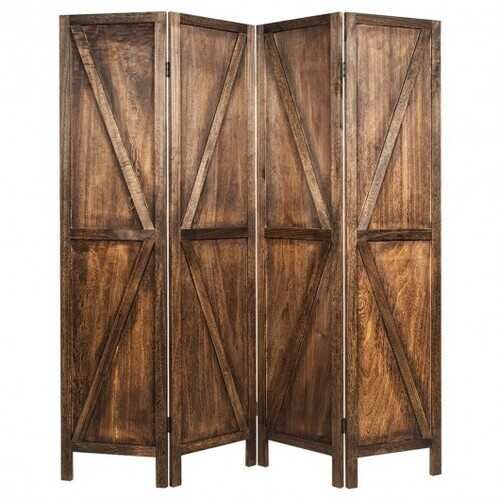 4 Panels Folding Wooden Room Divider-Brown - Color: Brown