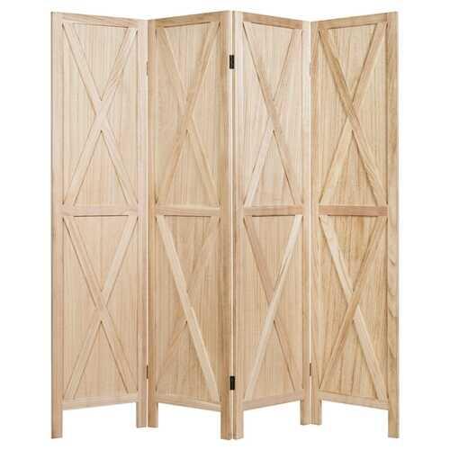 5.6 Ft 4 Panels Folding Wooden Room Divider-Natural