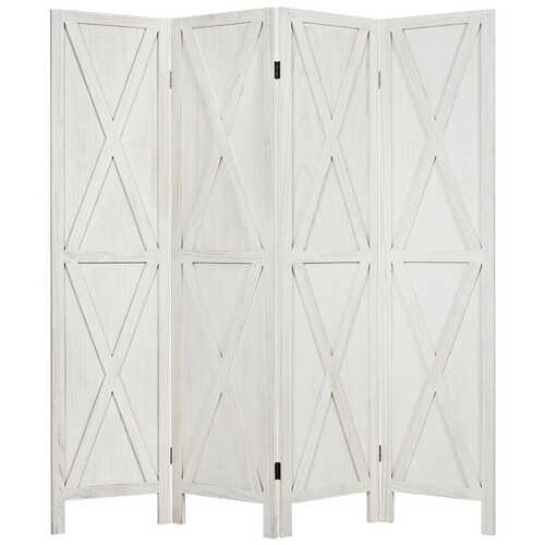 5.6 Ft 4 Panels Folding Wooden Room Divider-White
