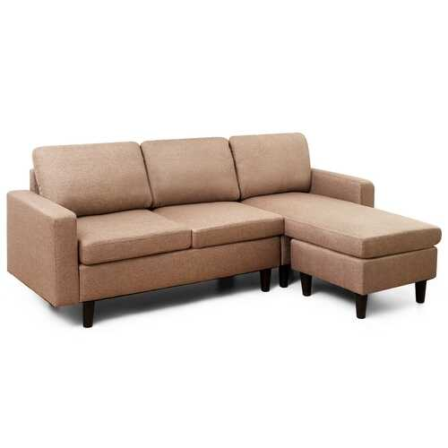Convertible Sectional L-Shaped Couch with Reversible Chaise-Beige-Coffee