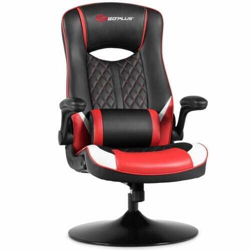 360 Degree Swivel Rocking Racing Style Gaming Chair-Red