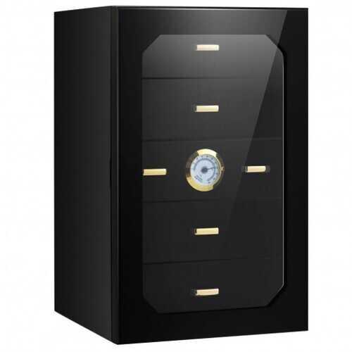 5 Drawers 130 Cigar Humidor Desktop with Hygrometer & Humidifier-Black