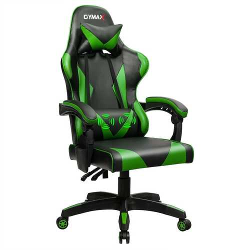 Gaming Chair Reclining Swivel with Massage Lumbar Support -Green