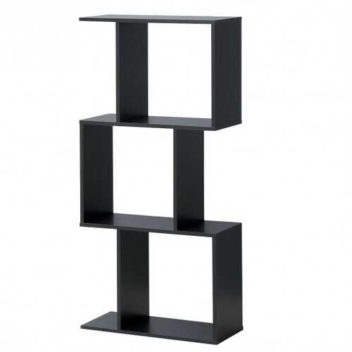 3-tier S-Shaped Bookcase Free Standing Storage Rack Wooden