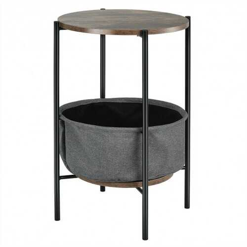 Industrial Round End Side Table Sofa w/ Storage