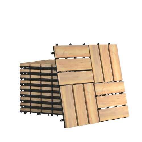 "10 PCS 12"" x 12"" Acacia Wood  Interlocking Check Deck Tiles"