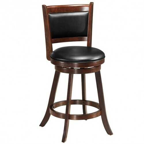 "24"" Wooden Upholstered Swivel Counter Height Stool  Dining Chair"