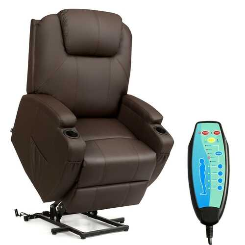 Electric Lift Power Recliner Heated Vibration Massage Chair-Coffee