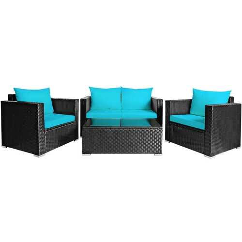 4Pcs Patio Rattan Cushioned Furniture Set-Turquoise