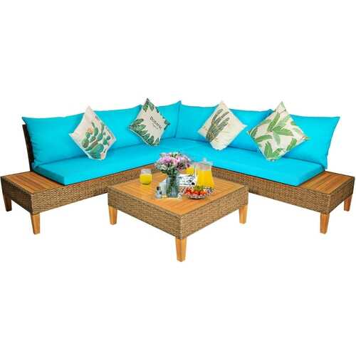 4PCS Patio Rattan Furniture Set with Wooden Side Table