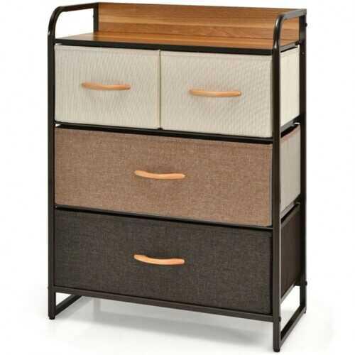 4-Drawer Tower Steel Frame Wooden Top Dresser Storage with 3-Tier Organizer
