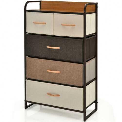 4-Tier Organizer Tower Steel Frame Wooden Top Storage with 5-Drawer Dresser