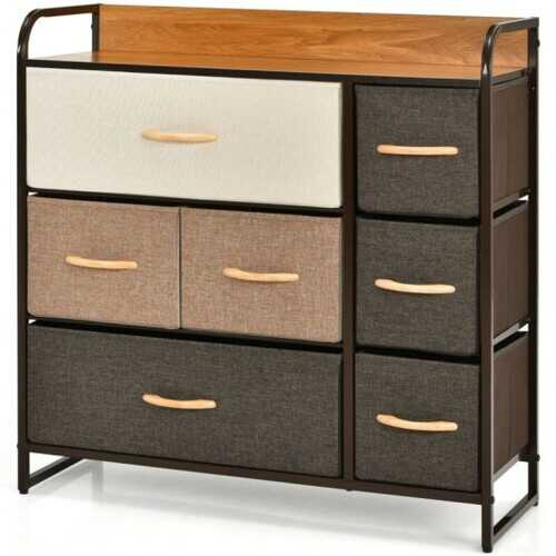 7 Drawer Tower Steel Frame and Wooden Top Dresser Storage Chest for Bedroom