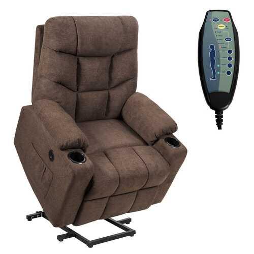 Electric Power Lift Recliner Massage Sofa-Brown
