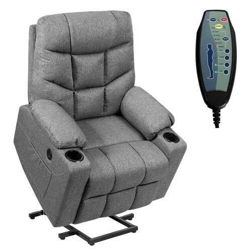 Electric Power Lift Recliner Massage Sofa-Gray