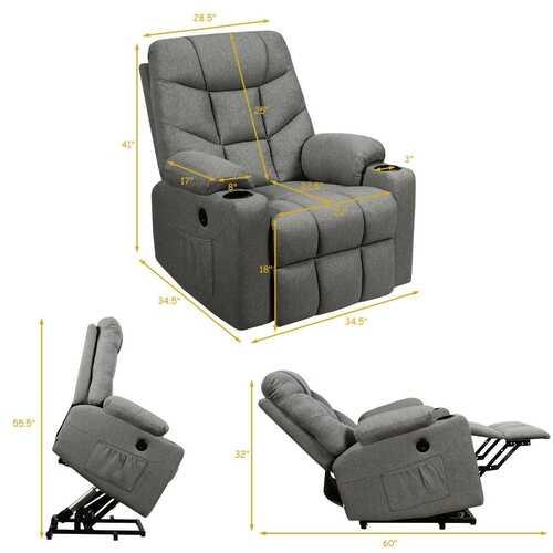 Electric Power Lift Recliner Massage Sofa-Light Gray