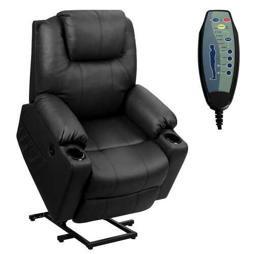Electric Power Lift Leather Massage Sofa-Black