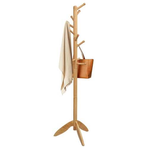Wooden Free Standing Coat Rack with 11 Hooks -Oak