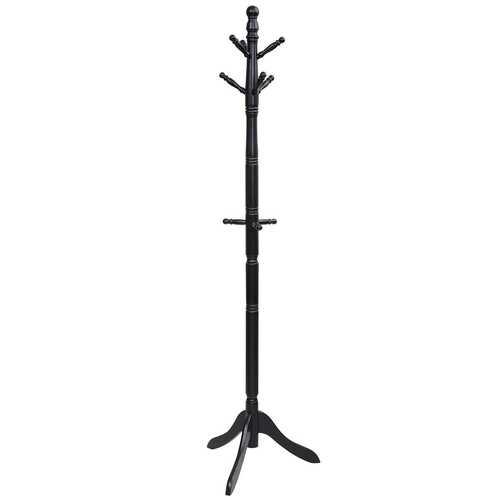 Adjustable Free Standing Wooden Coat Rack-Black