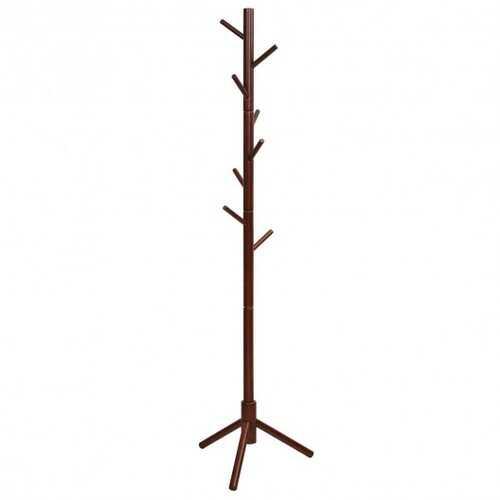 2 Heights Wooden Coat Rack with 8 Hooks-Walnut