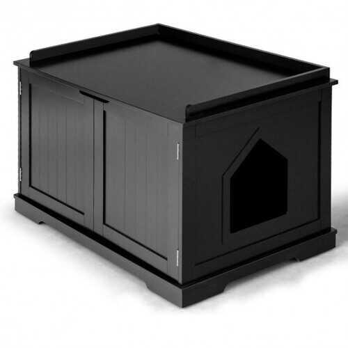 Cat Litter Box Wooden Enclosure Pet House Sidetable Washroom-Black - Color: Black