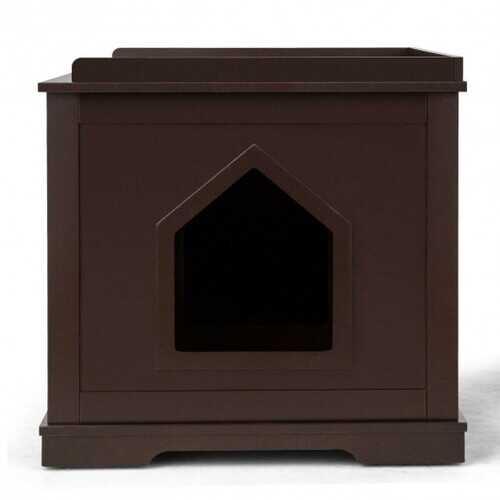 Cat Litter Box Wooden Enclosure Pet House Sidetable Washroom-Brown - Color: Brown