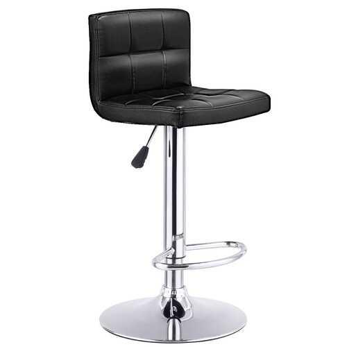 1 PC Bar Stool Swivel Adjustable PU Leather Barstools Bistro Pub Chair-Black