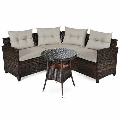 4 Pcs Furniture Patio Set Outdoor Wicker Sofa Set